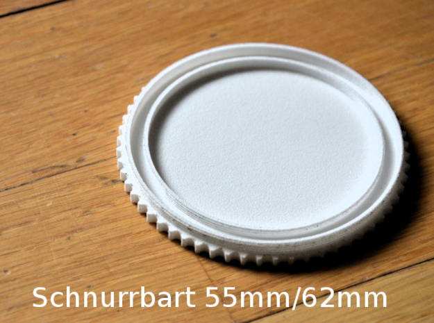 Schnurrbart Mustache Lens Cap 55mm/62mm in White Strong & Flexible