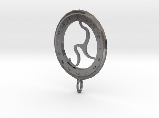 Rune Medallion in Polished Nickel Steel