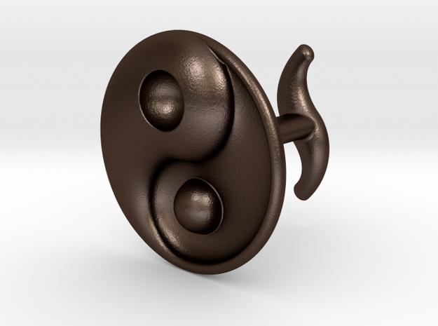Yin Yang - 6.1 - Cufflink - Left in Matte Bronze Steel