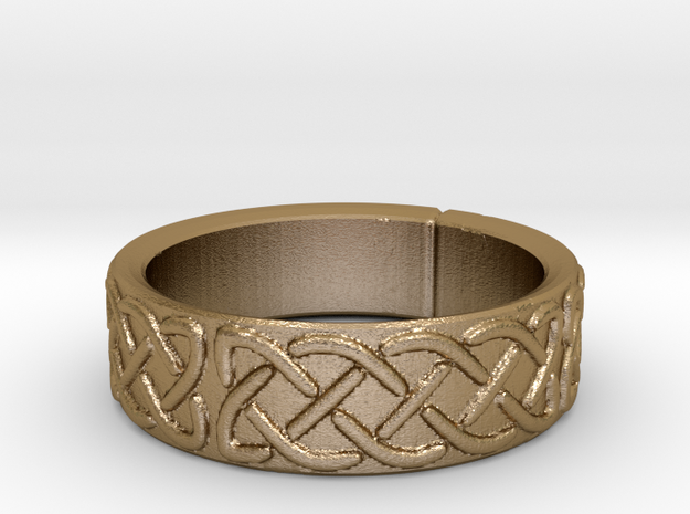 Celtic Knotwork Ring Small in Polished Gold Steel