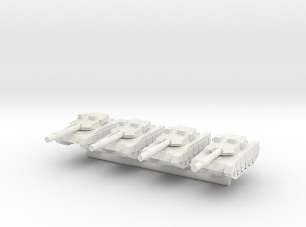 1/285 Al Khalid Main Battle Tank (x4) in White Natural Versatile Plastic