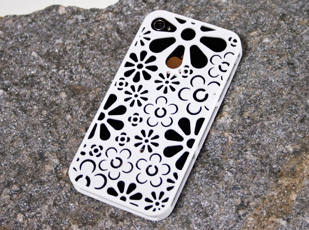 4 and 4s iPhone case: Flowers in White Strong & Flexible