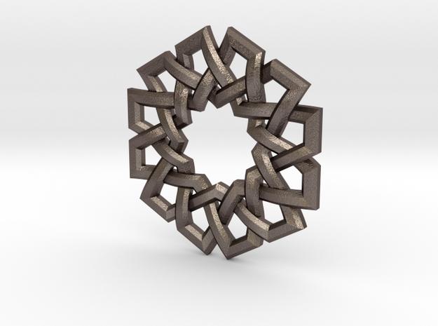 Hexad Pendant in Polished Bronzed Silver Steel