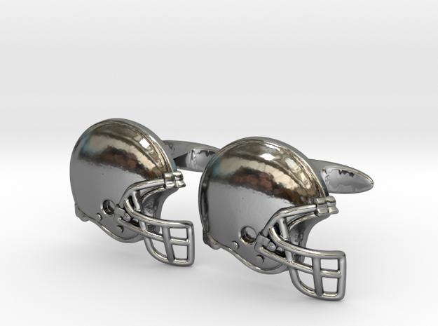 Cufflinks Football helmet  in Fine Detail Polished Silver