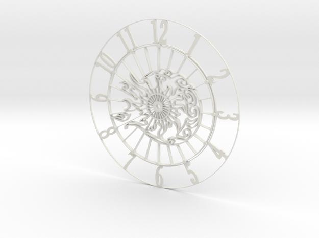 Sun-Moon Clock Face in White Natural Versatile Plastic