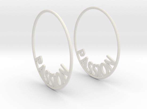 Custom Hoop Earrings - Passion 40mm in White Natural Versatile Plastic