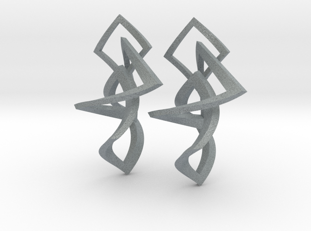 Twisted squares earrings 3d printed