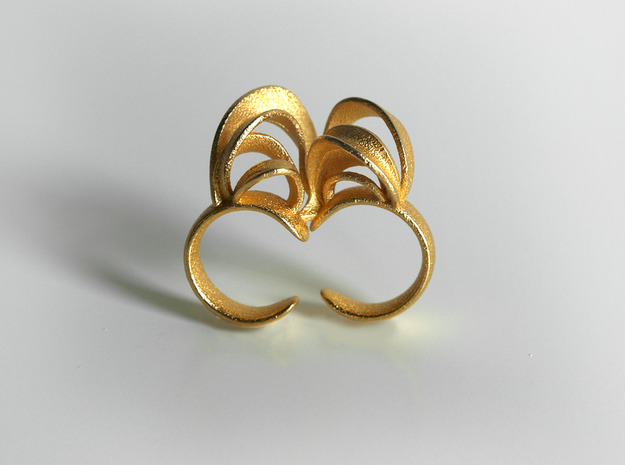 Ribbon Double Ring 6/7 3d printed Gold