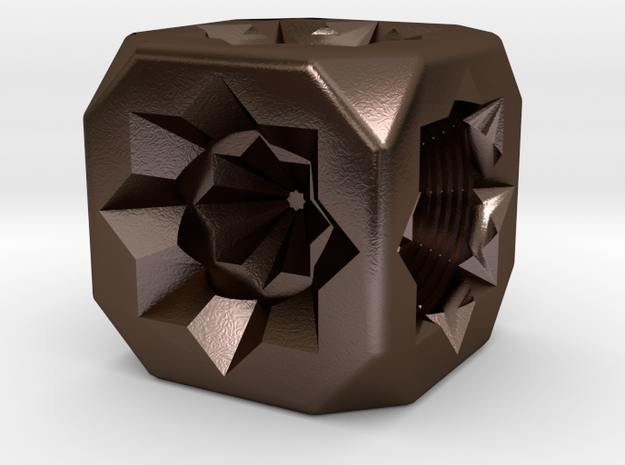 Dice82 in Polished Bronze Steel