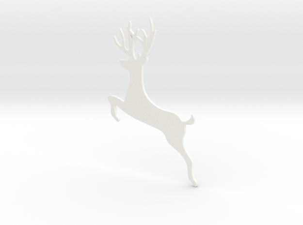 Reindeer Jumping Ornament in White Processed Versatile Plastic