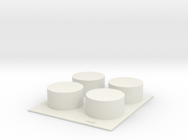 1/600 Fuel Tank Farm (x4) in White Natural Versatile Plastic