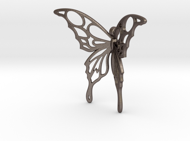 Flying Tattoo in Polished Bronzed Silver Steel