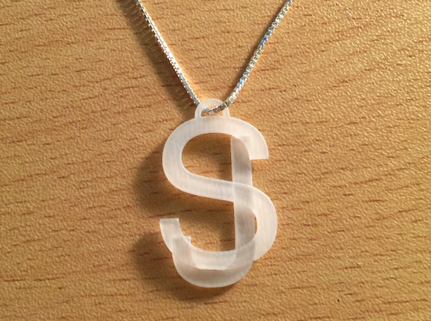 Overlaid Letter Charm in Smooth Fine Detail Plastic