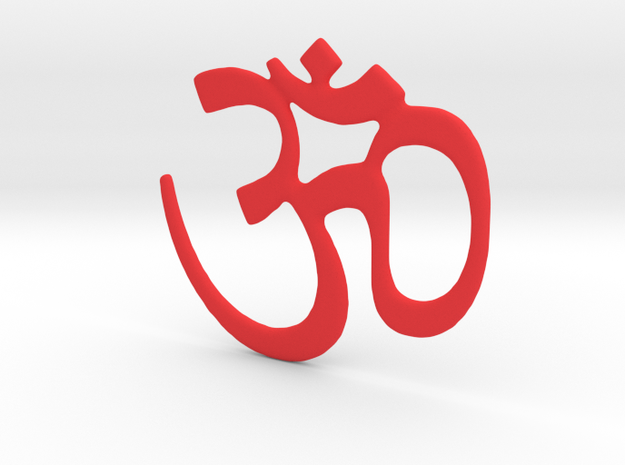 Om Symbol - 4 Inches in Red Strong & Flexible Polished