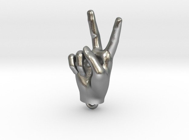Hand pendant 30mm in Polished Bronzed Silver Steel
