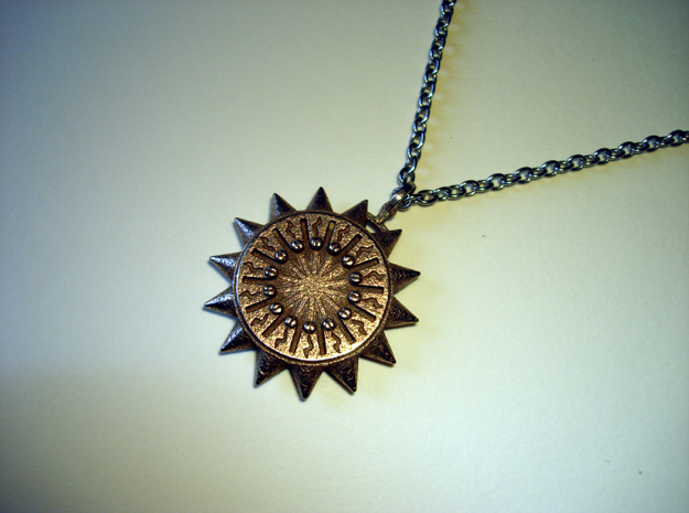 Steampunk Spiked Sun Pendant in Stainless Steel