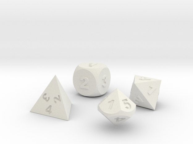 Dice Set in White Natural Versatile Plastic