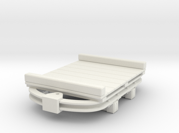 1:35 or Gn15 small skip based flat wagon in White Natural Versatile Plastic