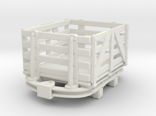 1:35 or Gn15 small skip based slat dropside wagon in White Natural Versatile Plastic