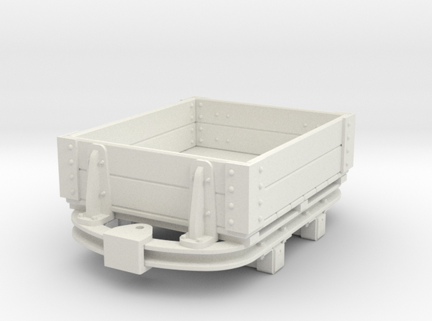 1:35 or Gn15 small skip based lowside wagon in White Natural Versatile Plastic