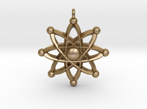 UNIVERSAL ATOM Designer Jewelry Pendant in Polished Gold Steel