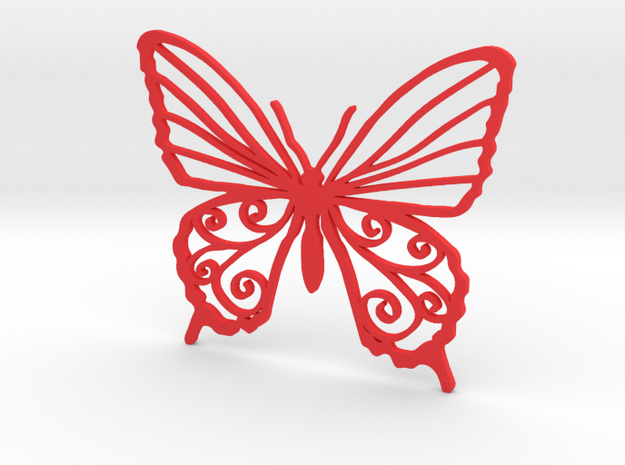 Butterfly wall stencil 7cm in Red Strong & Flexible Polished