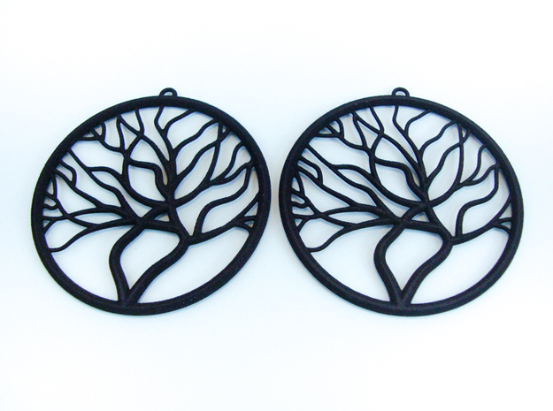 Tree Big Hoop Earrings 60mm in Black Natural Versatile Plastic