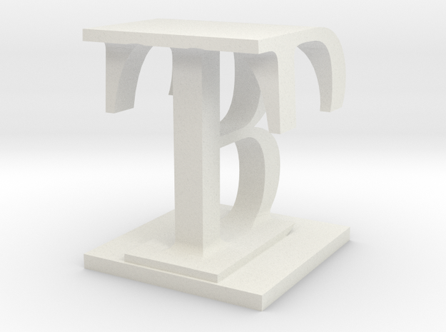 Two way letter / initial B&T in White Natural Versatile Plastic