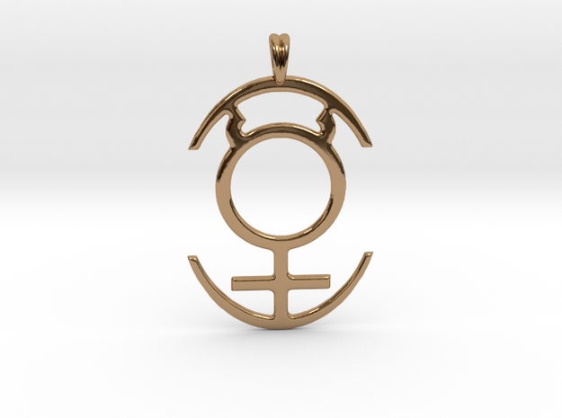 MERCURY PLANET Symbol Jewelry Pendant in Polished Brass