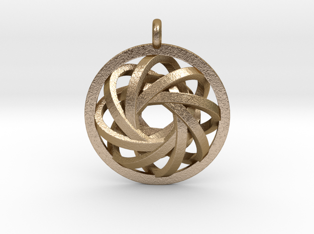 ATOM CORE Designer Jewelry Pendant in Polished Gold Steel