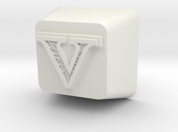 V Cherry MX Keycap in White Natural Versatile Plastic