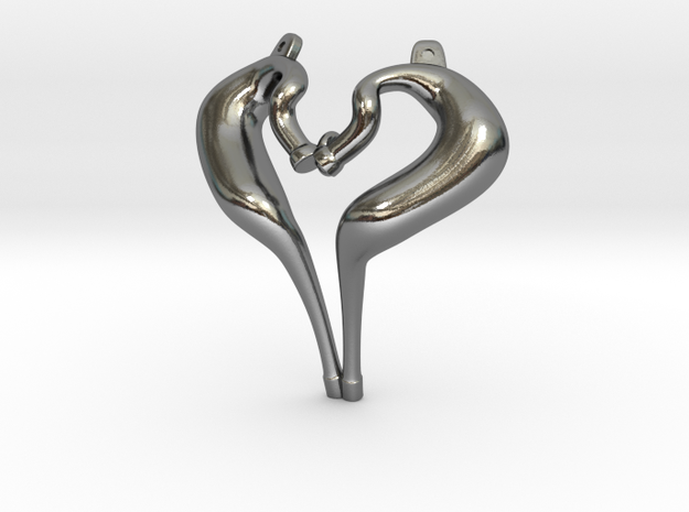 I Love 2-strokes Pendant Motorcycle Pipes in Polished Silver