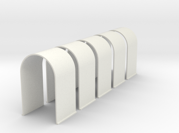 N-Scale Tunnel Liner - Single Track (5-Pack) in White Natural Versatile Plastic