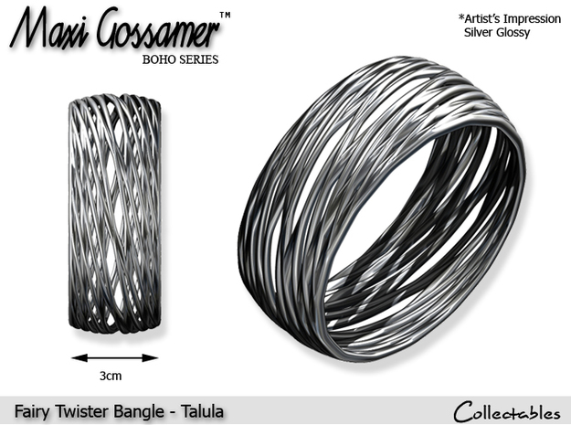 Fairy Twister Bangle - Talula  in Polished Silver