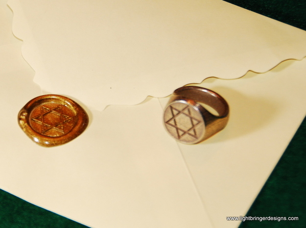 Star of David Signet Ring  in Polished Bronze