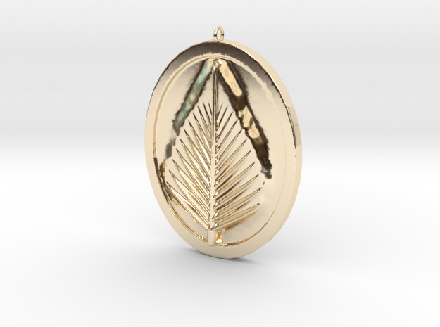 Natural Leaf Beauty Pendant Full Color by Space 3D in 14K Gold