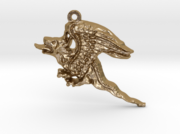 A Dragon in Polished Gold Steel