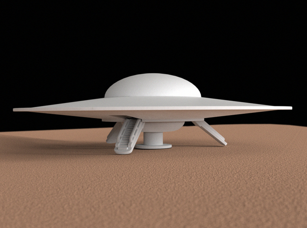 Flying saucer, 100 mm in White Natural Versatile Plastic