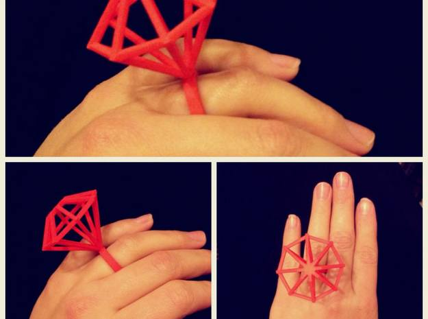 Big Diamond Ring - size 6 in Red Processed Versatile Plastic