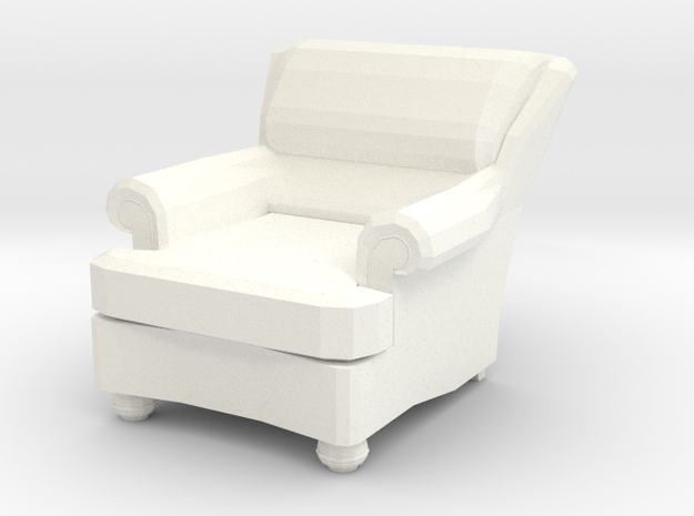 Miniature 1:48 Recliner Chair in White Processed Versatile Plastic