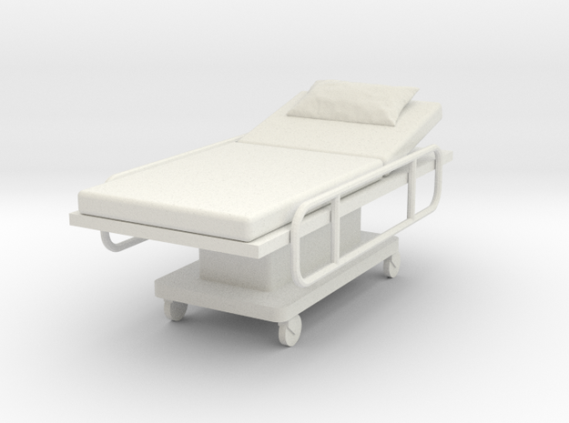 Miniature 1:24 Hospital Bed in White Natural Versatile Plastic
