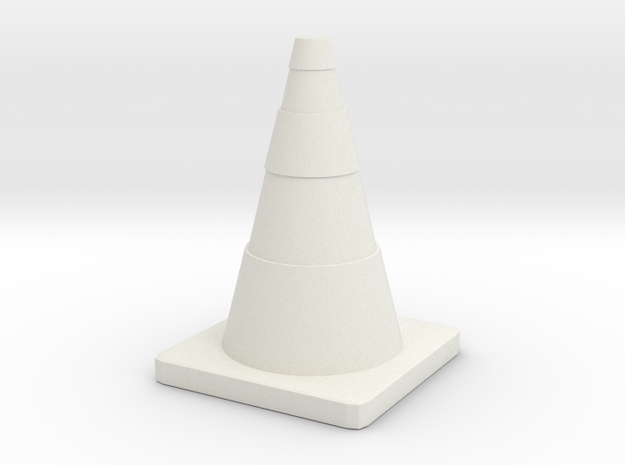 Construction Cone Custom Board Game Piece  in White Natural Versatile Plastic