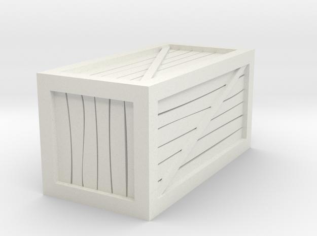 "1""x1""x2"" Crate Tabletop Miniature in White Natural Versatile Plastic"