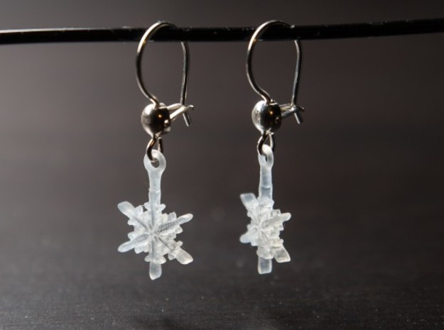 Snowflake Earrings in Frosted Ultra Detail