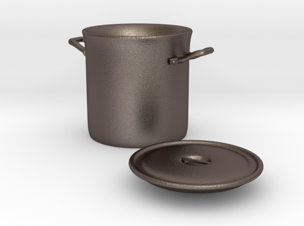 Stockpot 1/12 in Polished Bronzed Silver Steel