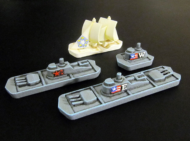 Military & Sailing ships (4 pcs) in White Processed Versatile Plastic