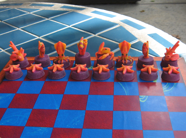 Sea Chess Pieces - Small 3d printed Purple/red pieces