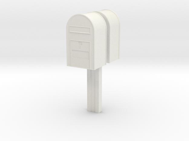 1/120 - Klassisk Dansk Postkasse på stang (dobbelt in White Natural Versatile Plastic