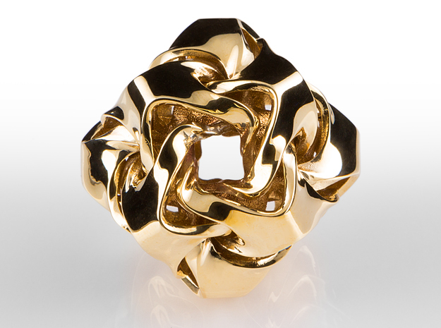 Wave Ball Pendant 25mm in Polished Brass