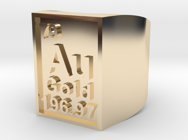 Gold Periodic Table Statement Ring Size 10
